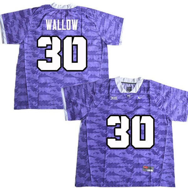 Men #30 Garret Wallow TCU Horned Frogs College Football Jerseys Sale-Purple